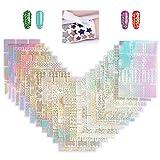 YOTINO 24 Pièces Ongles Autocollants, Ongles Decoration Stickers 3D Étanche Creux, Deco Ongles pour Femme Fille