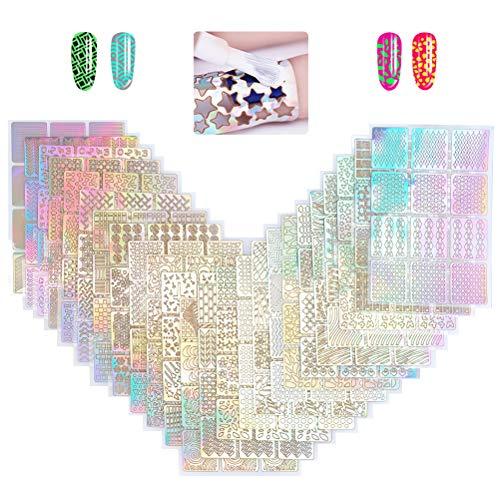 YOTINO 288Pcs Plantillas de Uñas Diseños de Vinilos de Uñas Set de Pegatinas de Uñas 24 Hojas Diseño de Arte de Uñas para Decoracion Uñas