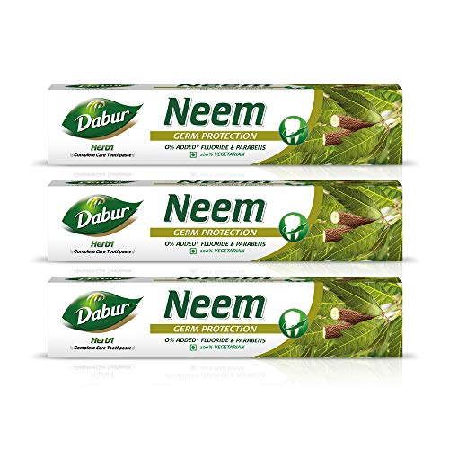Dabur Herb'l Neem – Germ Protection Toothpaste with No added Fluoride and Parabens – 200 g (Pack of 3)