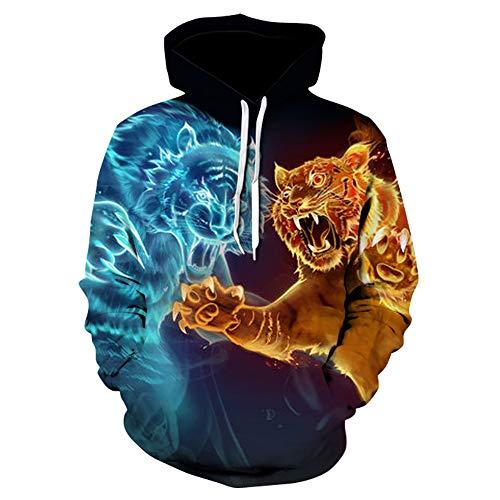 Sweatshirt Fashion, 3D Print Hoodie, Rollkragenpullover für Herren und Damen,C,6XL