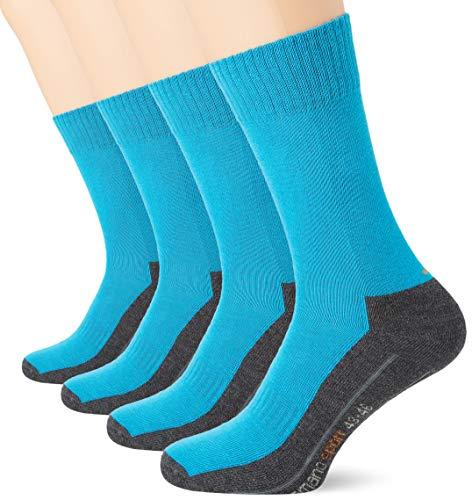 Camano Herren 5942 Sport 4 Paar Socken, Türkis (Turquoise 0032), (Herstellergröße: 39/42) (4er Pack)