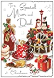 Jonny Javelin Special Mom and Dad at Christmas Time Card – Cake Tea Cups Gin