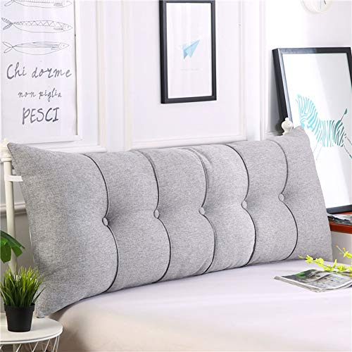 HAOLY Baumwolle und leinen rechteckig Bett Kopf Kissen,Große dreieckige Sofa rückenlehne,Weiche Tasche Tatami Bett Kissen,Abnehmbaren rückenpolster-J 150x20x60cm(59x8x24inch)