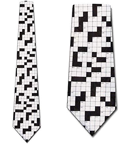 WILHJGH Die Kreuzworträtsel-Krawatten-Spaß-Krawatten der Männer im Schwarzen