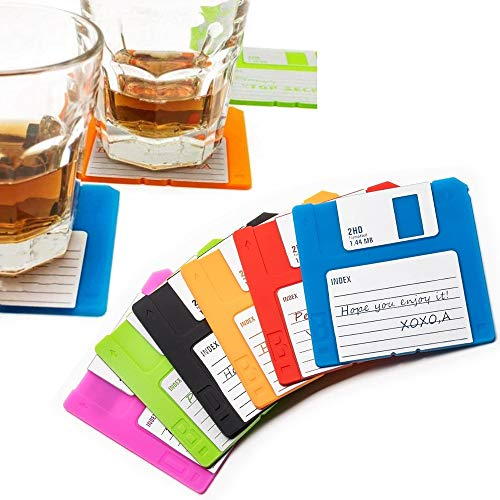 Set of 6 Floppy Disk Coasters - Fun Colorful Decoration for your Table | GR8 Gift for Computer Enthusiasts - A Set of 6 for Desktop Protection and Prevent Furniture Damage