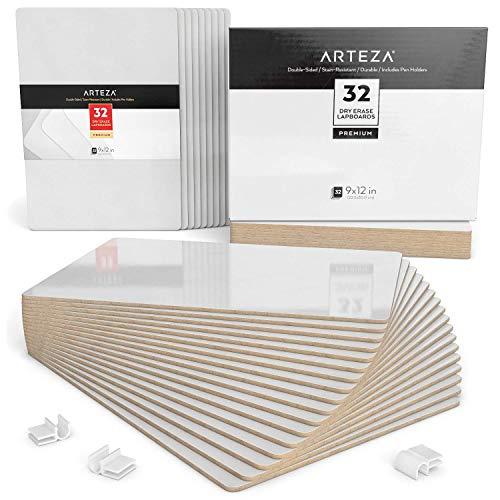 Arteza Schreibtafel | 23cm x 30cm Doppelseitiges Whiteboard | Set mit 32 Stück | Weiße Trocken Abwischbare Tafel | für Lehrer, Schüler, Unterricht, Präsentationen, Büroarbeit
