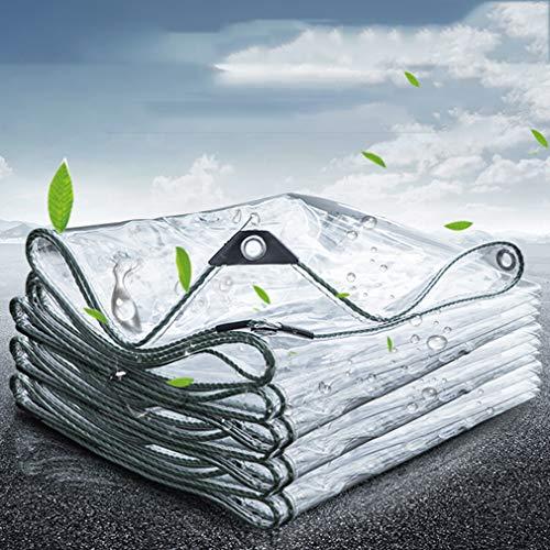 Wasserdicht Transparente Plane,0,35mm Dicke,Stabil Flexibel,Breit für Innen und Außenbereich Meterware,Faltbar PVC-Material Vordächer mit Ösen,Balkon,Vorhang,Sonnenschutz Tarp(2.4x3m/7.9x9.8ft)