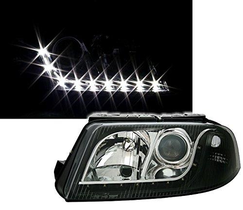 AD Tuning DEPO Scheinwerfer Set Klarglas Schwarz mit LED Tagfahrlicht Optik