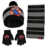 Nintendo Super Mario Scarf, Hat and Gloves Set for Little Boys Age 4-7, Black/Grey