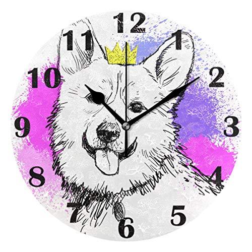 Jacque Dusk Reloj de Pared Moderno,Perro, Corgi,Grandes Decorativos Silencioso Reloj de Cuarzo de Redondo No-Ticking para Sala de Estar,25cm diámetro