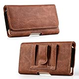 Luxmo Wallet Series Case for Jitterbug Smart2 (Greatcall) - PU Leather Phone Belt Holster Carry Pouch with Card Slots/Coin Holders and Atom Cloth for Jitterbug Smart2 (Greatcall) - Brown