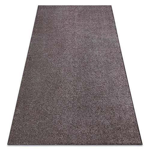 RugsX Effen gekleurd gevoelig tapijt Santa FE voor kamer, woonkamer, slaapkamer, vloerkleed, vloerkleed, bruin, verschillende maten, 150x300 cm