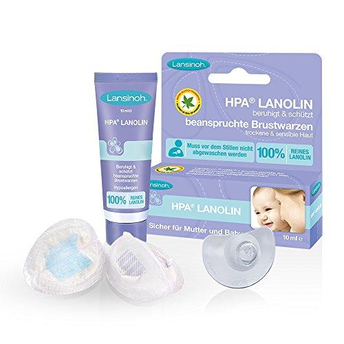 Lansinoh Still-Hilfsmittel-Set // Stillhütchen 2 Stk. inkl. Transportbox & Lansinoh HPA Lanolin 10ml 1 Pack