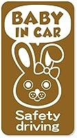 imoninn BABY in car ステッカー 【マグネットタイプ】 No.45 ウサギさん2 (ゴールドメタリック)