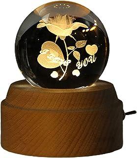 GJHK Boîte À Musique Lumineuse Rotative, Boule De Cristal, Boîte De Musique en Bois, Cadeau d'anniversaire pour Enfants Et...