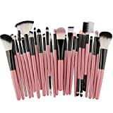 25 unids Pinceles de Maquillaje Set Beauty Foundation Power Blush Sombra de Ojos Cejas Lash Fan Corrector de Labios Maquillaje de Cara Kit de Cepillos, rosa negro