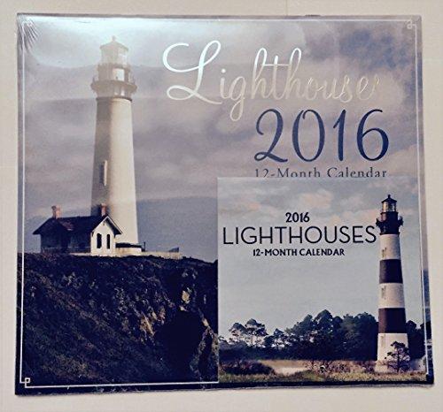 Lighthouses 2016: Calendario de 12 meses incluye mini calendario de 12 meses 2016 con calendario de 12 meses con calendario de encendedores en miniatura