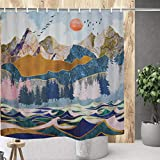 Mountain Forest Shower Curtain Watercolor Sunset Nature Landscape Bath Curtain Waterproof Ocean Wave Shower Curtain Sets for Bath Room Curtain Decor with Hooks W59×H70Inches