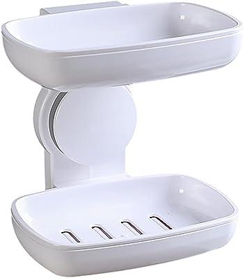 ソープホルダー 1個セット 吸盤 洗面所 浴室 ホルダー ソープディッシュ 水切りラック スポンジ置き おしゃれ キッチン用品 バス用品 速乾 排水付き ホワイト