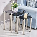 nozama Black Nest of Tables Glass Nesting End Tables 3 Coffee Table Sofa Side Tables for Living Room (Black, Rectangle)