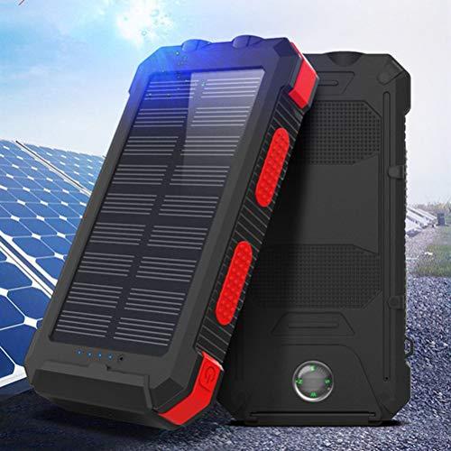 HJKPM Power Bank Solar, Batería Externa A Prueba De Agua De 20000Mah con Soporte De Teléfono Móvil Compás Y Funciones De Iluminación,Rojo