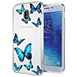 Tothedu Phone Case for Galaxy J3 2018/J3 Star/J3 Achieve/J3 Orbit/J3 Aura/Sol 3 Case for Girls, Clear Slim Shockproof Soft TPU Back Phone Protective Cover Cases for Samsung Galaxy J3 2018(Butterfly)