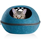 Furhaven Pet Cat Bed Furniture - Paw Print Cutout Felt Pet House Private Den Hideout Oval Pet Bed for Cats & Small Dogs, Heather Lagoon, One Size