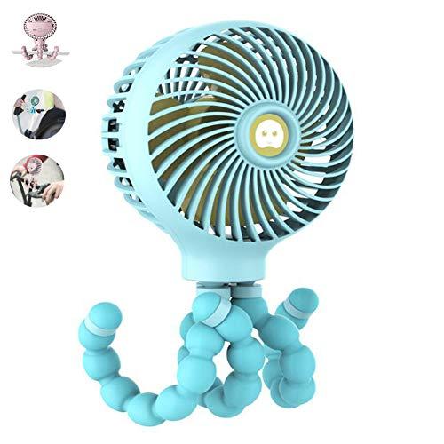 Draagbare mini USB-ventilator, USB oplaadbare mini-handbediende baby-auto-bed kleine ventilator,voor thuis, op kantoor, reizen,kamperen, kinderwagen, blauw