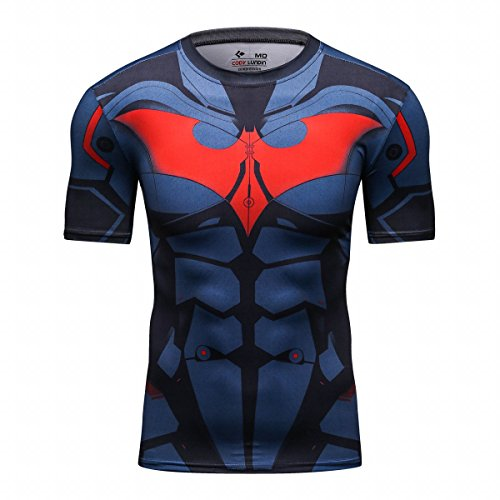 Cody Lundin firmemente Impreso aleeve Corto Camiseta Culturismo Masculino Camiseta Hombre Tops héroe Logo Hombres (XXL, Bat Hero)