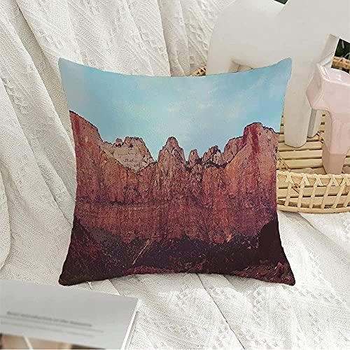 Funda de almohada decorativa cuadrada colorida, EE. UU., Senderismo, turismo, parque nacional de acantilados de Zion, recreación de montaña de Utah, parques naturales, funda de almohada al aire libre