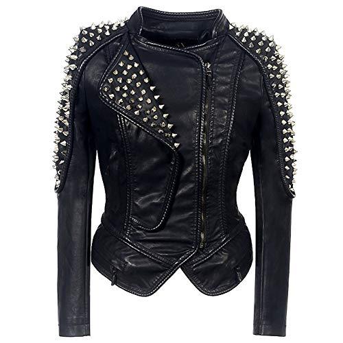 Damen Kunstleder Jacke Motorradjacke Bikerjacke PU Lederjacke Outwear Kurz Kurze Jacke Herbst Winter Übergangsjacke Schwarz 01,Black,XL