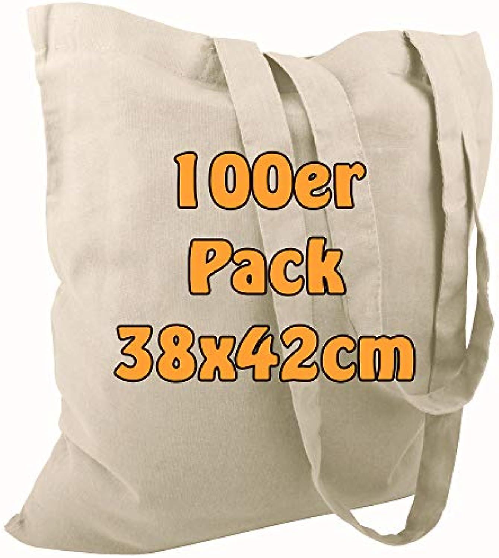 Cottonbagjoe Baumwolltasche Jutebeutel unbedruckt mit Zwei Langen Henkeln Natur 38x42cm 100 Stück