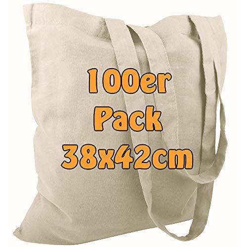 Cottonbagjoe Baumwolltasche Jutebeutel unbedruckt mit Zwei Langen Henkeln 38x42cm (Natur, 100 Stück)
