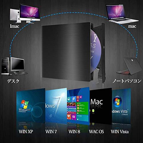 『U-miss dvdドライブ 外付け USB3.0 ポータブルCD DVD-RWドライブ スリムタイプ 読取・書込 Windows/Mac OS対応 書き込み 超薄型』の1枚目の画像