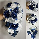 Navy Blue White Calla Lily Rose Bridal Wedding Bouquet Accessories