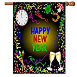 Winter Happy New Year Garden Yard Flag House Banner 28 x 40 inch, Christmas Bell Toast Firework Large Decorative Double Sided Welcome Flags for Holiday Wedding Party Home Outdoor Outside Decor