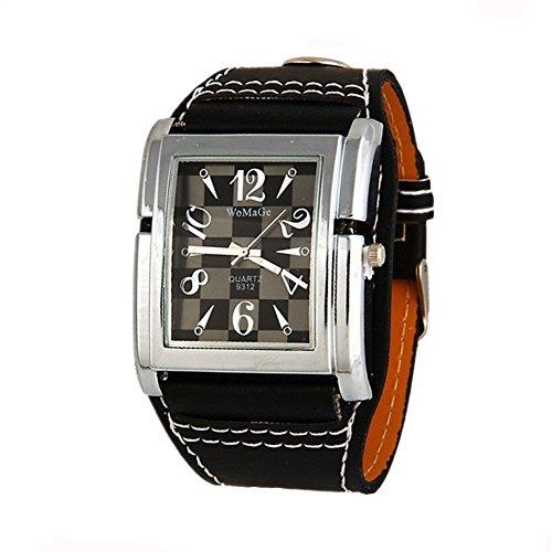Womage Lattice-Quadrat-Uhr-echtes Leder Unisex-Uhr-beiläufige Art und Weise Kleid-Armbanduhren
