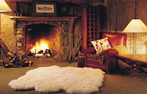 Schaffell Lammfell Teppich Kaminvorleger Wohnzimmerteppich 6-Fach 180x160cm beige