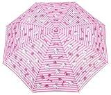 Charmmy Kitty 10112 - Paraguas plegable y compacto para niña, con funda con y asas, diseño de rayas, color rosa