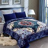 JML Heavy Fleece Blanket King(85'x95', 10lbs), 2 Ply Korean Mink Blanket - Soft Warm Thick Korean Mink Printed Plush Asian Fleece Raschel Bed Blanket for Autumn,Winter,Bed,Home,Gifts