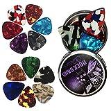 Púa para Guitarra Clásica, Púa de Bass, Púas Celuloide Guitarra, Acústica Eléctrica Clásica Ukelele Gruesopack de 12 unidades, 4 grosores, 12 colores lindos