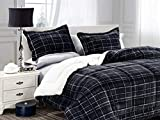 Elegant Comfort Softest, Coziest Heavy Weight Plaid Pattern Micromink Sherpa-Backing Premium Quality Down Down Alternative Micro-Suede 3-Piece Reversible Comforter Set, Full/Queen, Black