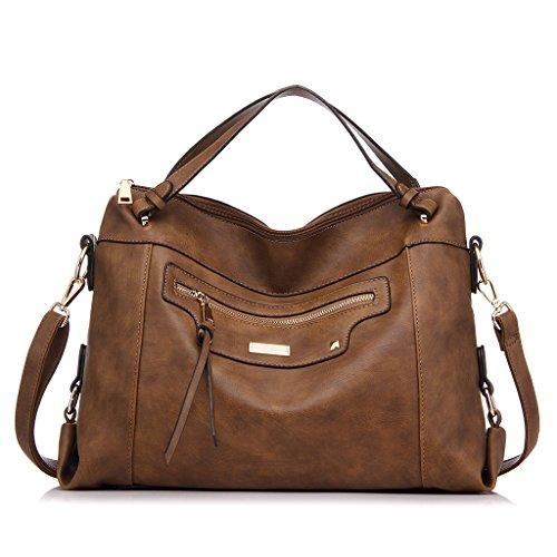 Realer Large Capacity PU Leather Handbag for Women Office Shoulder Bag Brown