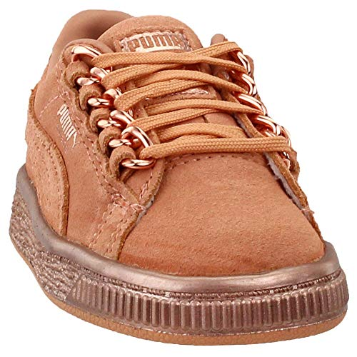 PUMA Girls Suede Classic x Chain Infant Casual Sneakers, Tan, 8