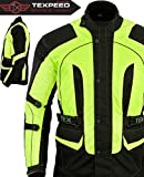 Texpeed Men's High Visibility Waterproof CE Armoured Motorcycle Textile Jacket - Black (Black/Green)