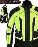 Texpeed - Textil-Motorradjacke mit CE-Protektoren - High Visibility - Wasserdicht - 5XL