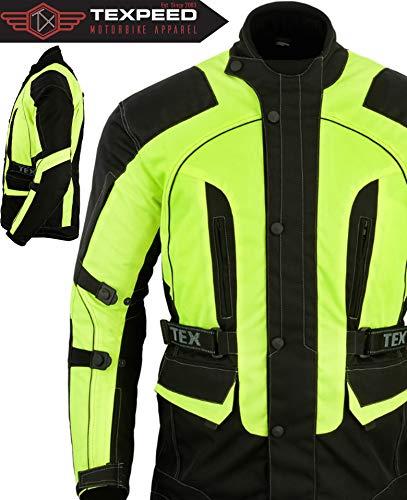 Texpeed - Textil-Motorradjacke mit CE-Protektoren - High Visibility - Wasserdicht - L