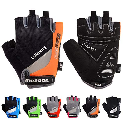 meteor radhandschuhe MTB Handschuhe Herren Gel GX31 Green fahrradhandschuhe Mountainbike Handschuhe - Radsport Handschuhe Damen - Radsporthandschuhe Downhill Fahrrad Handschuhe Kinder (XL, Orange)