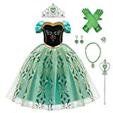 OBEEII Anna Frozen 2 Costume Princess Elsa Snow Queen Dress Fancy Dress Up for Girls Cosplay Christmas Carnival Birthday Party Easter Children's Day Gift