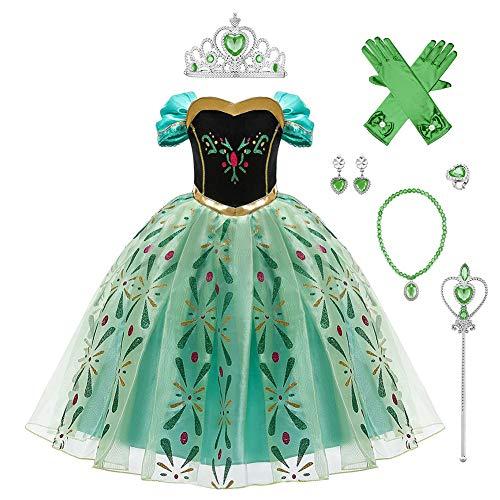 FYMNSI - Disfraz de princesa Anna para niña, disfraz de Frozen, disfraz para niña, fiesta ceremonia, cumpleaños, Navidad, Halloween, carnaval, cosplay, para 2 a 10 años Vert avec Accessoires 4-5 Años